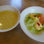 中国料理 桃仙 - 回鍋肉セット まずサラダとスープ