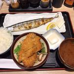 93928909 - 秋刀魚の塩焼き ミニチキンカツ定食