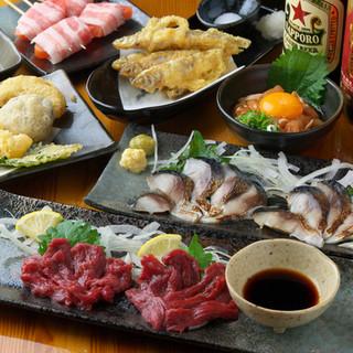串焼き、串揚げ、串天、肉巻き串、豊富な一品料理ご堪能ください