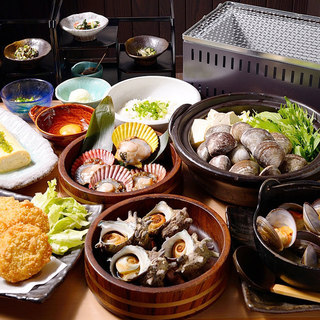 ≪コース≫蛤しゃぶしゃぶ鍋&貝御造り3種盛竹コース