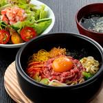 焼肉チャンピオン - 石焼きユッケビビンバ(ランチセット)