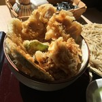 武柳庵 - 鶏天丼と小そばセット 天丼アップ