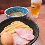 煮干しつけ麺 宮元 - 料理写真:味玉極濃煮干つけ麺&ビール♪( ´▽`)