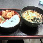 ゆで太郎 - 日替わりランチ480円、唐揚弁当と蕎麦のセット