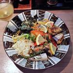 らーめん専門店 拉ノ刻 - 秋刀魚のアヒージョまぜそば、秋刀魚のアヒージョ1本追加
