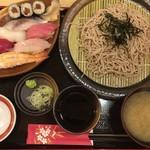 94032029 - 「握り寿司と常陸秋そば二八」1480→1280円(オープン価格)
