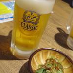 どさんこキッチン レトロなごりら - 生ビール_450円:税抜き以下同、お通し_350円
