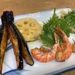 豊野丼 - 車海老の素揚げと野菜のアネックス