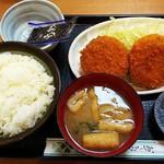 勝ちゃん - スペシャル定食(ポテトコロッケ、カニクリームコロッケ、メンチカツ、味付海苔、沢庵、味噌汁、御飯)¥800