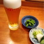 94043342 - 生ビール・お通し 枝豆