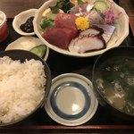 日本料理 はら田 - 地物3品定食@1000円。小鉢がたくさんついているので、刺身で一杯やってから…というのがいいかもしれません。