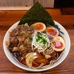 麺屋 猪一 - 和牛そば(黒)+赤玉味付け玉子