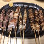 やきとり王将 - 料理写真: 砂ずり 豚ばら ししゃも とり皮