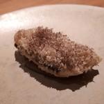 94058765 - 秋刀魚のベニエ 焼きナスペースト