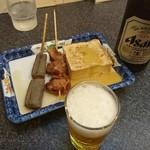 手打ちうどん 鶴丸 - ビールと仲間
