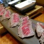 ばんや - 和牛。すんげぇ皿で出てきた。