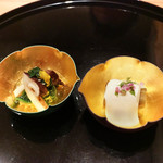 まき村 - 松茸のお浸し、なすの白和え