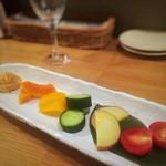 和ビストロ 菜 - 秋の有機野菜と自家製味噌(ハーフ)