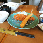 とんかつ知多家 - 料理写真:ロース&エビフライ御膳