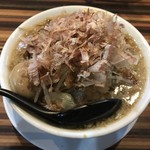 ラーメンつけ麺 笑福 - ラーメン並(味玉追加、ニンニク・野菜・カツオ・カラメはちょい増し、アブラは増し)