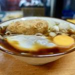 つくば本店 - [2018/08]コロッケそば(360円)+生玉子(50円)