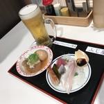 立ち喰い魚 ふじ屋 - お魚チャージセット1200円(税込) ※ドリンクをビールに変更