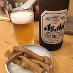 中華そば 笑歩 - 瓶ビール おつまみ付き(520円) 2018.9