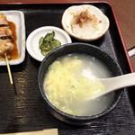 たきち - 鶏スープ・大根おろし・漬物