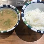 天ぷらの山 - 定食の味噌汁&ライス