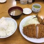 とんかつ山家 - ロースカツ定食+アジフライ