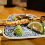 飛魚 - 焼き串(海老、葱)
