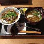 手打うどん・そば・丼 ふくや - カレー丼ミニ+かけうどんミニ                             ¥650+¥300