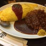 とんかつひろ喜 - ハーフヒレとんかつ(¥350)・オムライス(¥650)