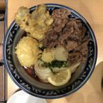 梅田 釜たけうどん - 肉ぶっかけ(小)冷300g 1050円