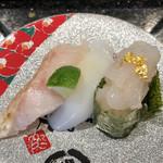 金沢まいもん寿司 - 「白いもん三昧(のど黒、北陸産あおりいか、富山白えび軍艦)」760円