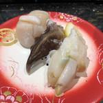 金沢まいもん寿司 - 「貝三昧(ほたて、とり貝、ばい貝)」560円