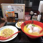 94265894 - 雷神ラーメンセット 餃子3個、半炒飯、味噌ラーメン