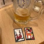 酒場劇場 せんべろロケット 駅東製作所 - せんべろで生ビールを!残り二杯分は花札を店員さんに渡してオーダーします。
