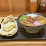 Nihombashisanukiudonhoshino - 肉うどん(700円)、野菜天盛(300円)