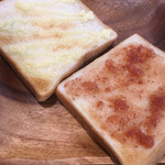 Cafe 楽 Alegria - トーストはサンドイッチスタイルに合わせてマーガリン・マヨネーズ・オリーブ岩塩をおススメ