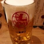 門前仲町 肉寿司 - 生ビール(スーパードライ)