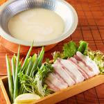 淡路猪豚と九条ネギの白湯しゃぶしゃぶ(1人前)