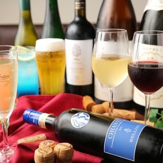 ワインセラーあり!約30種類のワインを楽しもう