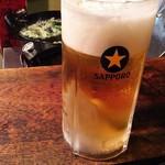 きど藤 - 生中と葉っぱの天ぷら