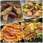 もんじゃ焼きお好み焼き鉄板焼き 一(いち) - サイコロステーキ、チャンポン野菜、お好み焼き、そばめしのコース♪