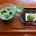 喫茶きはる - 冷抹茶と和菓子セット800円