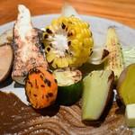 炭火割烹 蔓ききょう - 焼き野菜盛合せ(淡海地鶏と厳選季節野菜コース)