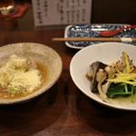 94381070 - お通し(天然木ノ子と京壬生菜のおひたし、甘鯛栗蒸し 山葵餡)