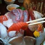 浜清丸 - お刺身定食。みてこの分厚さ!