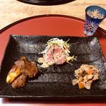 94393063 - 大和牛のローストビーフ、ステーキ、すき焼き風。柔らかくて美味しかったです。